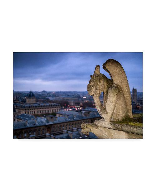 "Trademark Global Karen Deakin The Bored Gargoyle of Notre-Dame Canvas Art - 15"" x 20"""