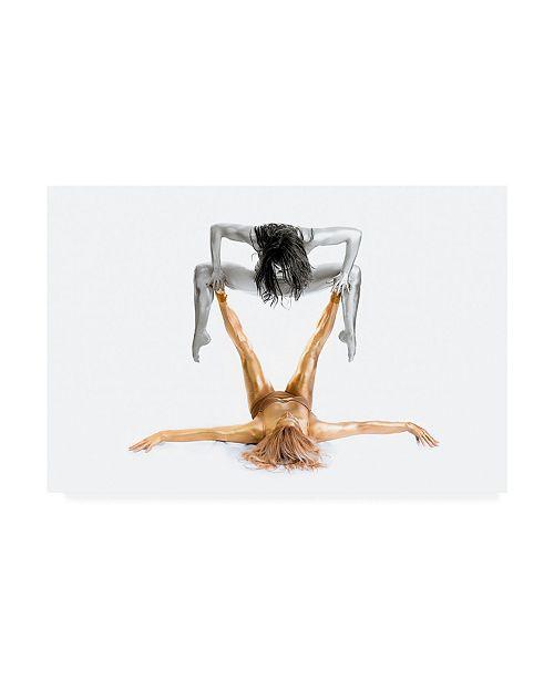 "Trademark Global Howard Ashton Jones Silver on Gold Gymnast Series Canvas Art - 20"" x 25"""