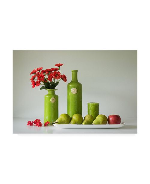 "Trademark Global Jacqueline Hammer Red and Green with Apple and Pears Canvas Art - 15"" x 20"""