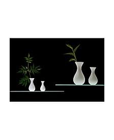 "Doris Reindl Greens in White Vases Canvas Art - 15"" x 20"""