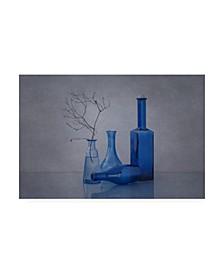 "Anna Klinkosz Blue Glass Jar Canvas Art - 37"" x 49"""