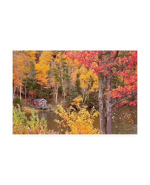 "Trademark Global Monte Nagler Boathouse in Autumn Marquette Michigan Color Canvas Art - 37"" x 49"""