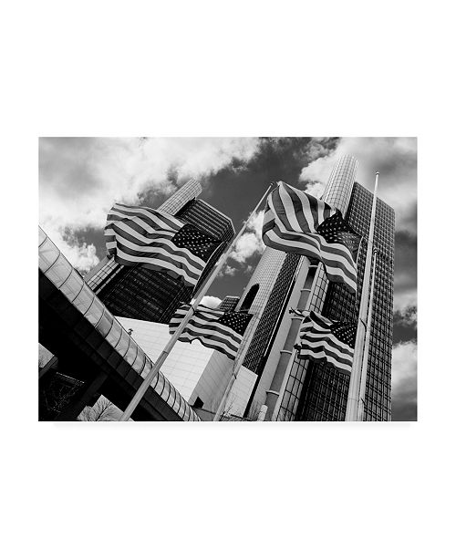"Trademark Global Monte Nagler Renaissance Center and Flags Detroit Michigan Canvas Art - 37"" x 49"""