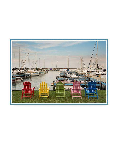 "Trademark Global Monte Nagler Five Chairs Port Sanilac Michigan Color Canvas Art - 37"" x 49"""