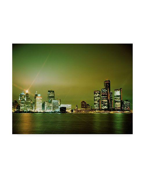 "Trademark Global Monte Nagler Detroit Skyline Nighttime Michigan Color Canvas Art - 15"" x 20"""