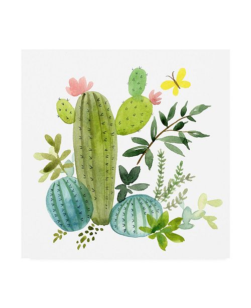 "Trademark Global Jane Maday Happy Cactus Painting I Canvas Art - 15.5"" x 21"""