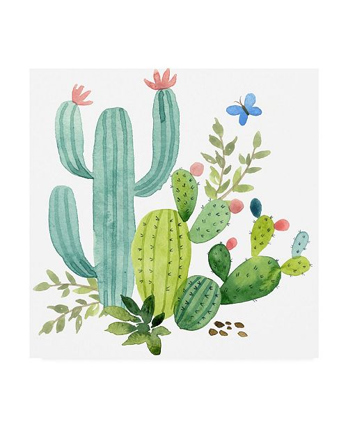 "Trademark Global Jane Maday Happy Cactus Painting IV Canvas Art - 36.5"" x 48"""
