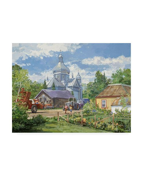 """Trademark Global Peter Snyder Gathered Around the Church Canvas Art - 27"""" x 33.5"""""""