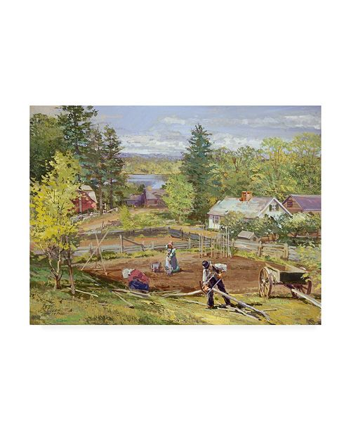 "Trademark Global Peter Snyder Starting the Garden Canvas Art - 19.5"" x 26"""