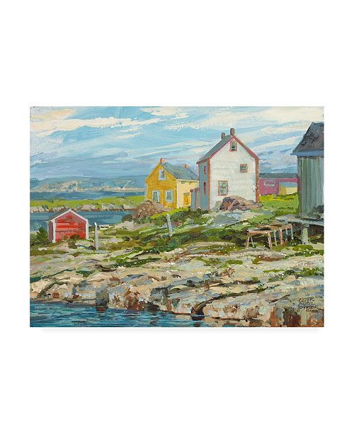 """Trademark Global Peter Snyder Fishermans Houses Badgers Quay Canvas Art - 36.5"""" x 48"""""""