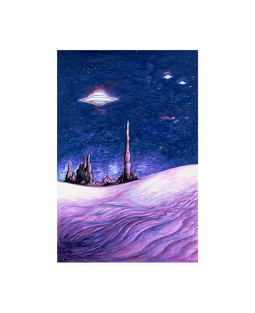 "Trademark Global Peter Potter Blue UFO Night Canvas Art - 15.5"" x 21"""