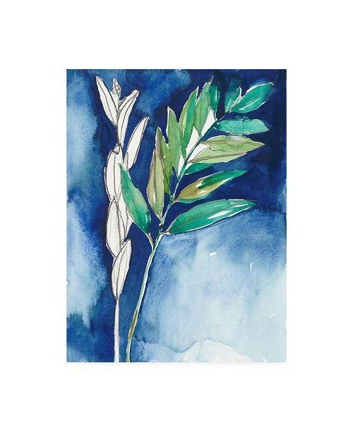 "Trademark Global Jennifer Goldberger Petiole on Indigo I Canvas Art - 19.5"" x 26"""