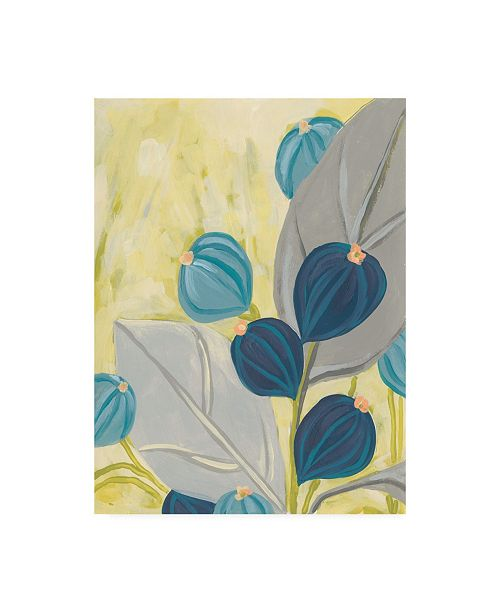 "Trademark Global June Erica Vess Navy & Citron Floral I Canvas Art - 36.5"" x 48"""
