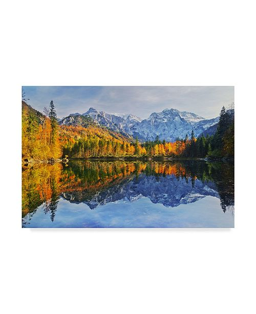 "Trademark Global Burger Jochen Autumn Reflection Pond Canvas Art - 15"" x 20"""