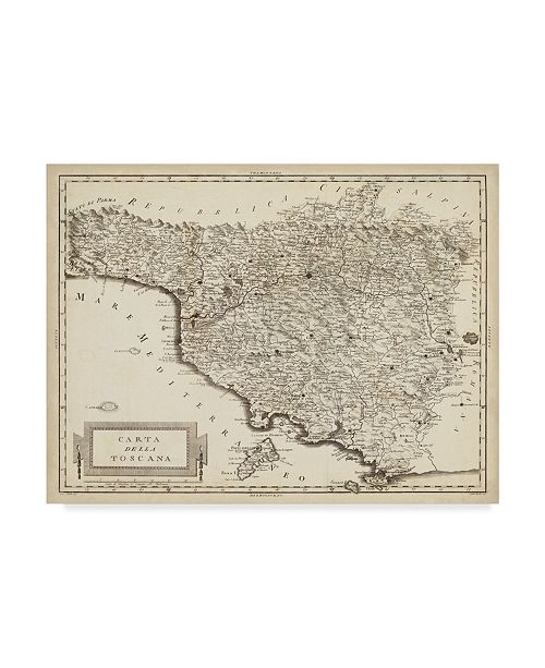 "Trademark Global Unknown Antique Map of Tuscany Canvas Art - 20"" x 25"""