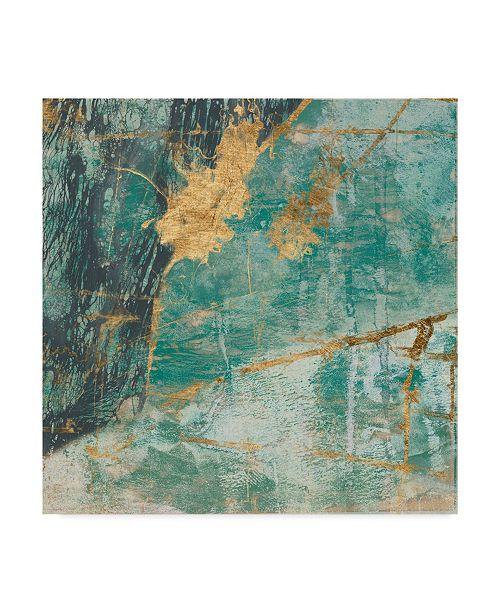 "Trademark Global Jennifer Goldberger Teal Lace I Canvas Art - 15"" x 20"""