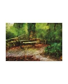 "Lois Bryan The Garden Bench Canvas Art - 37"" x 49"""