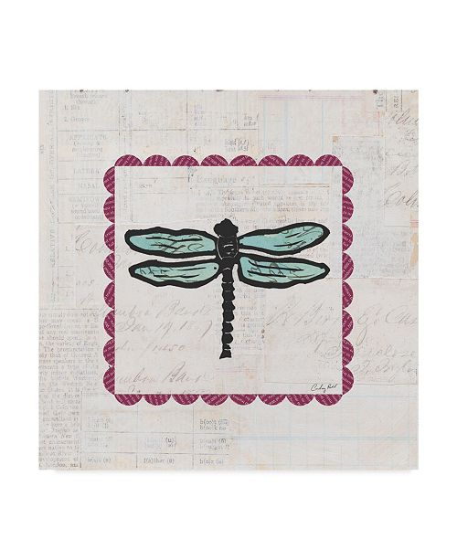 "Trademark Global Courtney Prahl Dragonfly Stamp Bright Canvas Art - 15"" x 20"""
