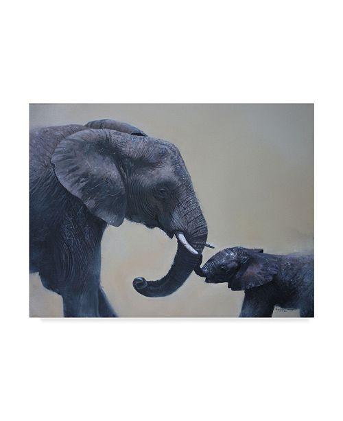 "Trademark Global Pip Mcgarry Ele and Baby Mara 2013 Canvas Art - 37"" x 49"""