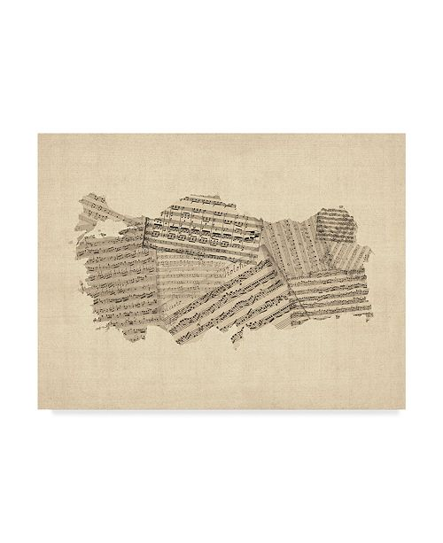"Trademark Global Michael Tompsett Old Sheet Music Map of Turkey Map Canvas Art - 37"" x 49"""