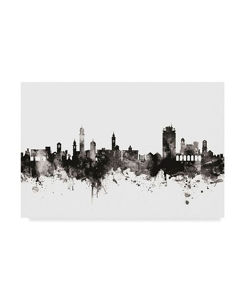 "Trademark Global Michael Tompsett Lugano Switzerland Skyline Black White Canvas Art - 37"" x 49"""