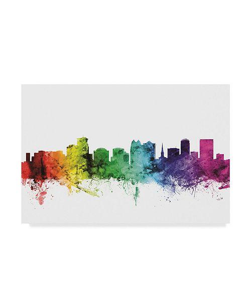 "Trademark Global Michael Tompsett Orlando Florida Skyline Rainbow Canvas Art - 37"" x 49"""