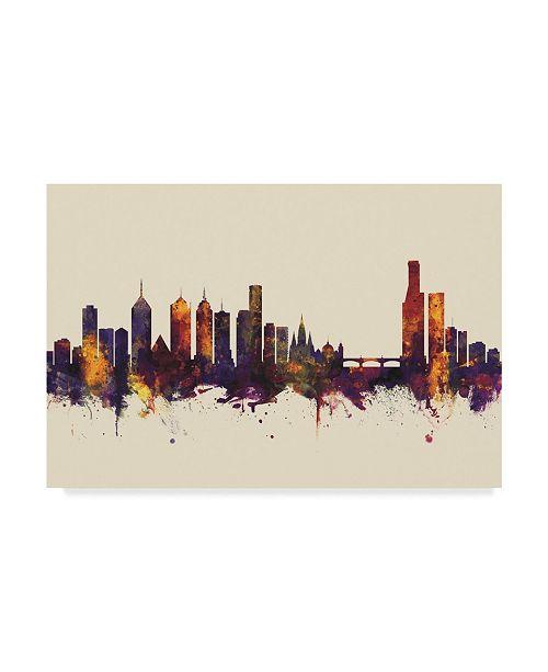 "Trademark Global Michael Tompsett Melbourne Australia Skyline III Canvas Art - 20"" x 25"""