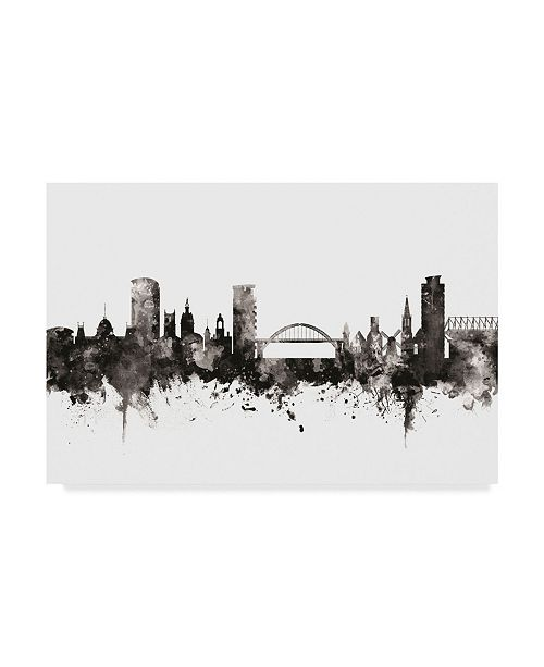 "Trademark Global Michael Tompsett Sunderland England Skyline Black White Canvas Art - 15"" x 20"""