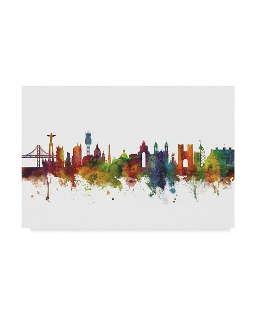 "Trademark Global Michael Tompsett Lisbon Portugal Skyline II Canvas Art - 15"" x 20"""