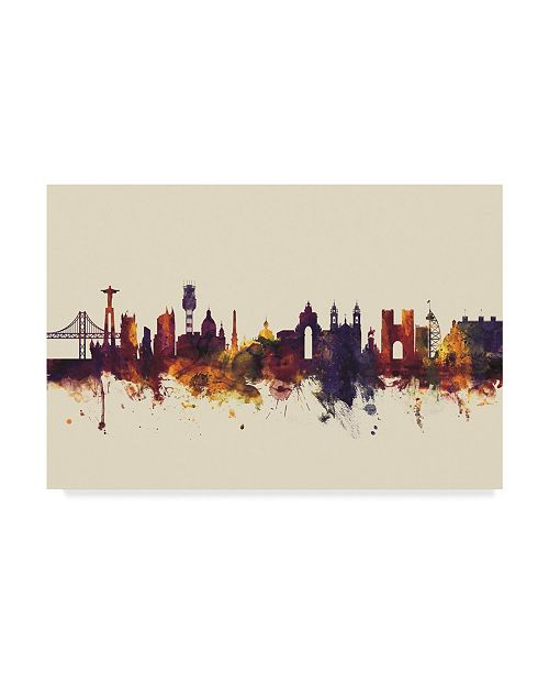 "Trademark Global Michael Tompsett Lisbon Portugal Skyline III Canvas Art - 37"" x 49"""