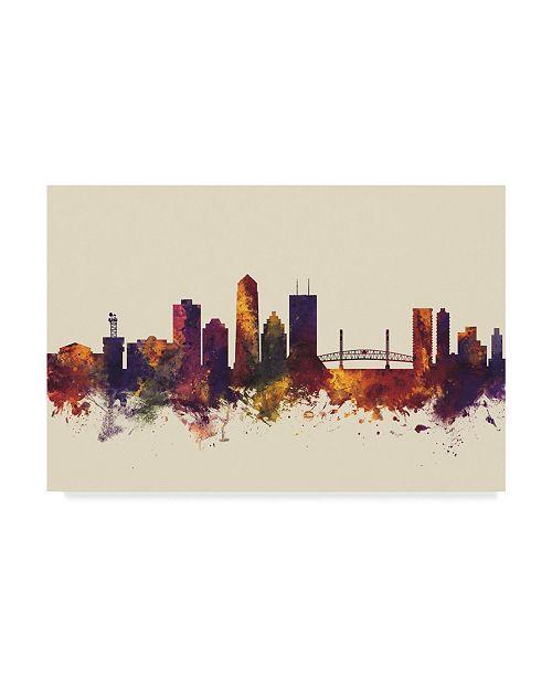 "Trademark Global Michael Tompsett Jacksonville Florida Skyline III Canvas Art - 20"" x 25"""