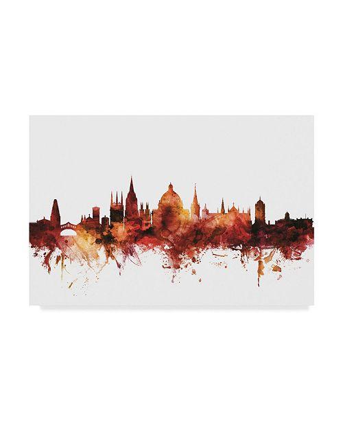 "Trademark Global Michael Tompsett Oxford England Skyline Red Canvas Art - 37"" x 49"""