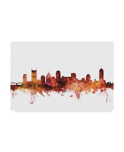"Trademark Global Michael Tompsett Nashville Tennessee Skyline Red II Canvas Art - 20"" x 25"""