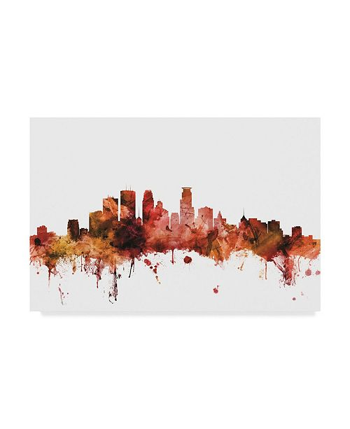 "Trademark Global Michael Tompsett Minneapolis Minnesota Skyline Red Canvas Art - 37"" x 49"""