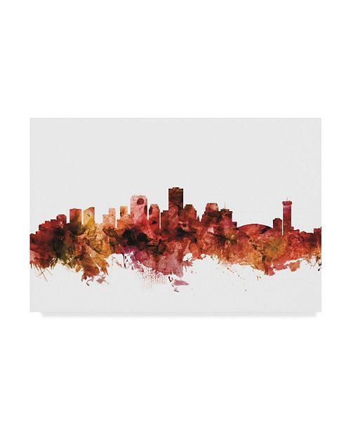 "Trademark Global Michael Tompsett New Orleans Louisiana Skyline Red Canvas Art - 20"" x 25"""