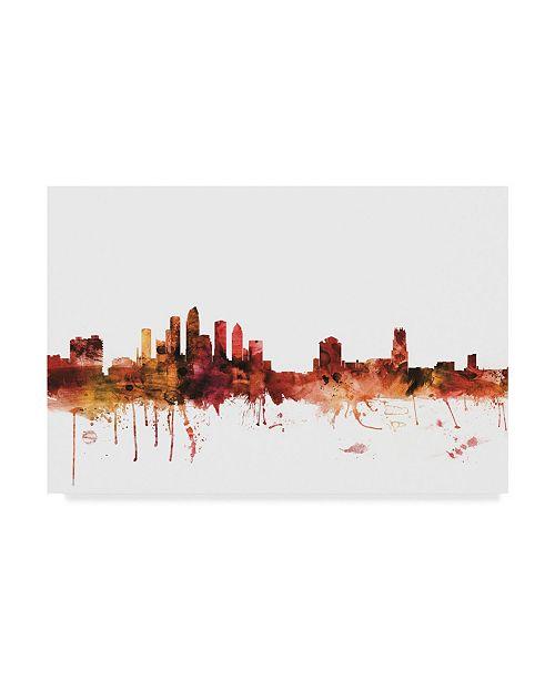 "Trademark Global Michael Tompsett Tampa Florida Skyline Red Canvas Art - 37"" x 49"""