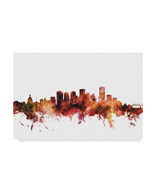 "Trademark Global Michael Tompsett Edmonton Canada Skyline Red Canvas Art - 20"" x 25"""