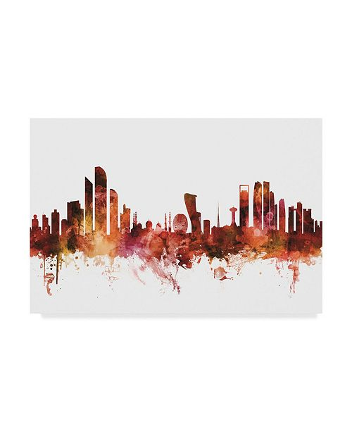 "Trademark Global Michael Tompsett Abu Dhabi Skyline Red Canvas Art - 20"" x 25"""