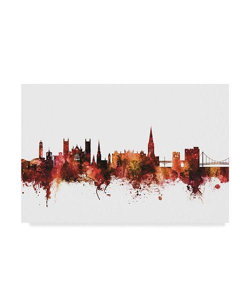 "Trademark Global Michael Tompsett Exeter England Skyline Red Canvas Art - 37"" x 49"""