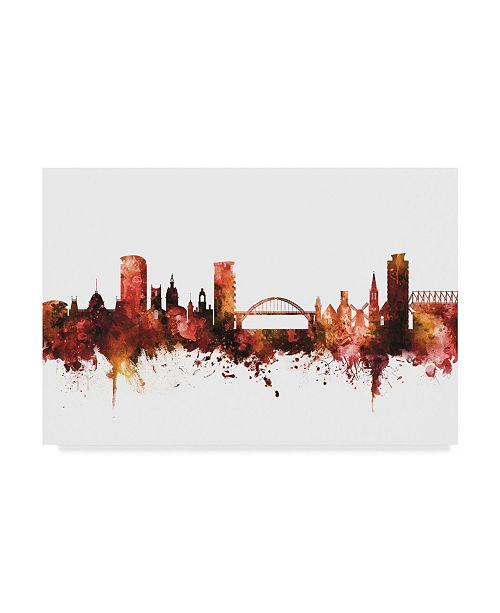 "Trademark Global Michael Tompsett Sunderland England Skyline Red Canvas Art - 20"" x 25"""