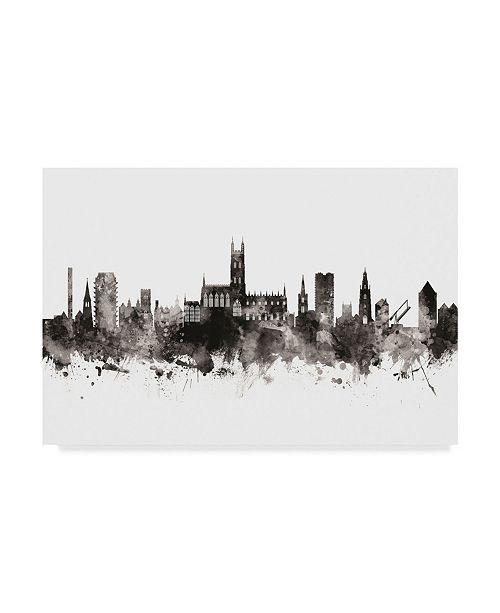 """Trademark Global Michael Tompsett Gloucester England Skyline Black White Canvas Art - 20"""" x 25"""""""