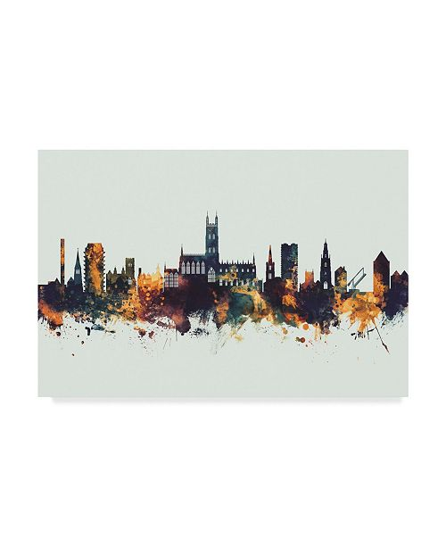 "Trademark Global Michael Tompsett Gloucester England Skyline IV Canvas Art - 37"" x 49"""