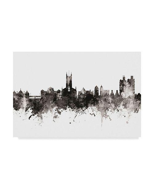 """Trademark Global Michael Tompsett Stoke-On-Trent England Skyline Black White Canvas Art - 37"""" x 49"""""""