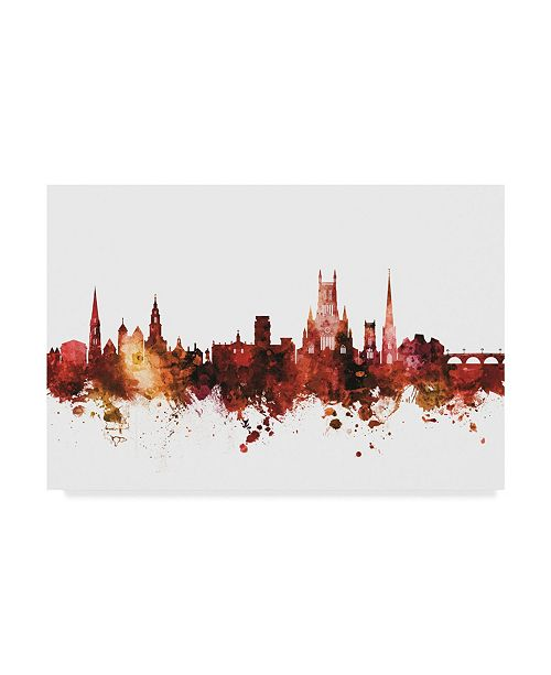 "Trademark Global Michael Tompsett Worcester England Skyline Red Canvas Art - 20"" x 25"""