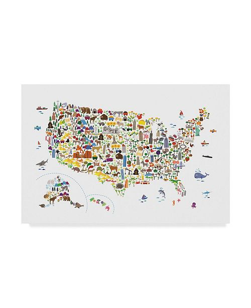 "Trademark Global Michael Tompsett Animal Map of United States For Children and Kids Canvas Art - 37"" x 49"""