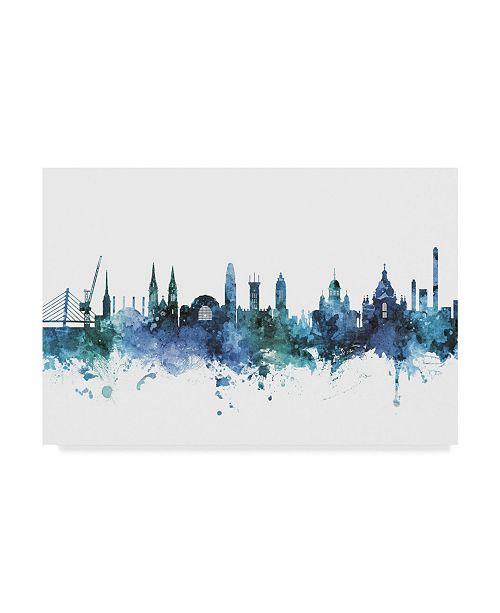 "Trademark Global Michael Tompsett Helsinki Finland Skyline Blue Canvas Art - 20"" x 25"""