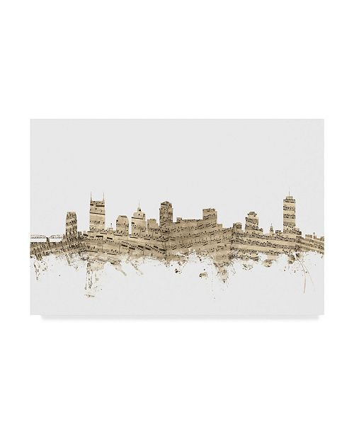 "Trademark Global Michael Tompsett Nashville Tennessee Skyline Sheet Music II Canvas Art - 20"" x 25"""