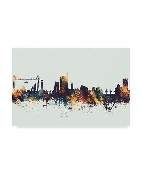 "Trademark Global Michael Tompsett Newport Wales Skyline IV Canvas Art - 37"" x 49"""