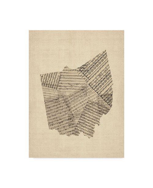"Trademark Global Michael Tompsett Old Sheet Music Map of Ohio Canvas Art - 37"" x 49"""