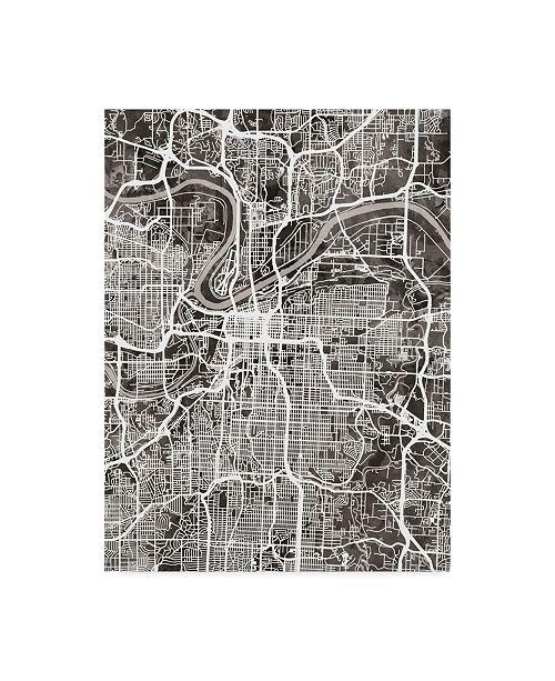 "Trademark Global Michael Tompsett Kansas City Missouri City Map Black Canvas Art - 20"" x 25"""
